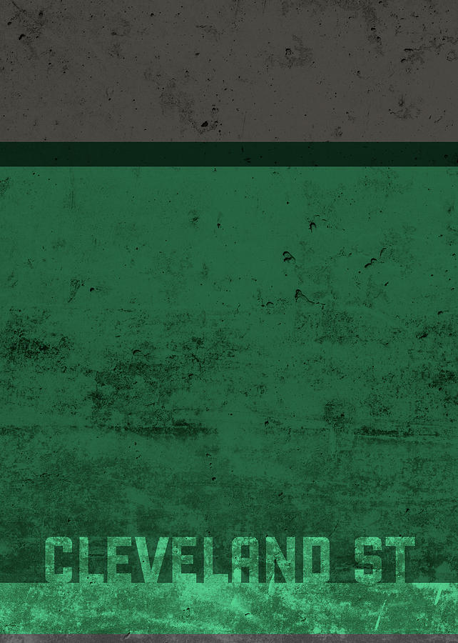 Team Mixed Media - Cleveland State Team Colors College University Distressed Series by Design Turnpike