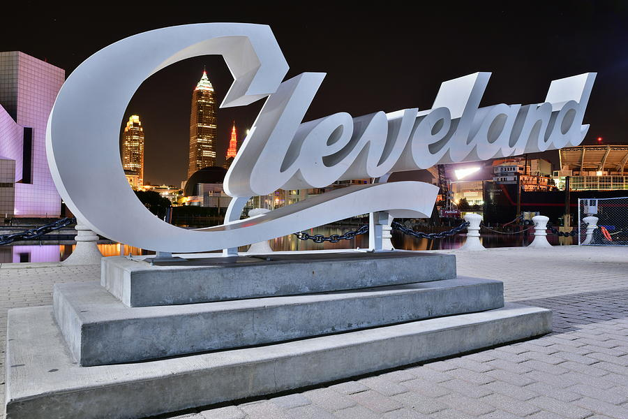 Cleveland Through The Sign At The Lakefront Photograph