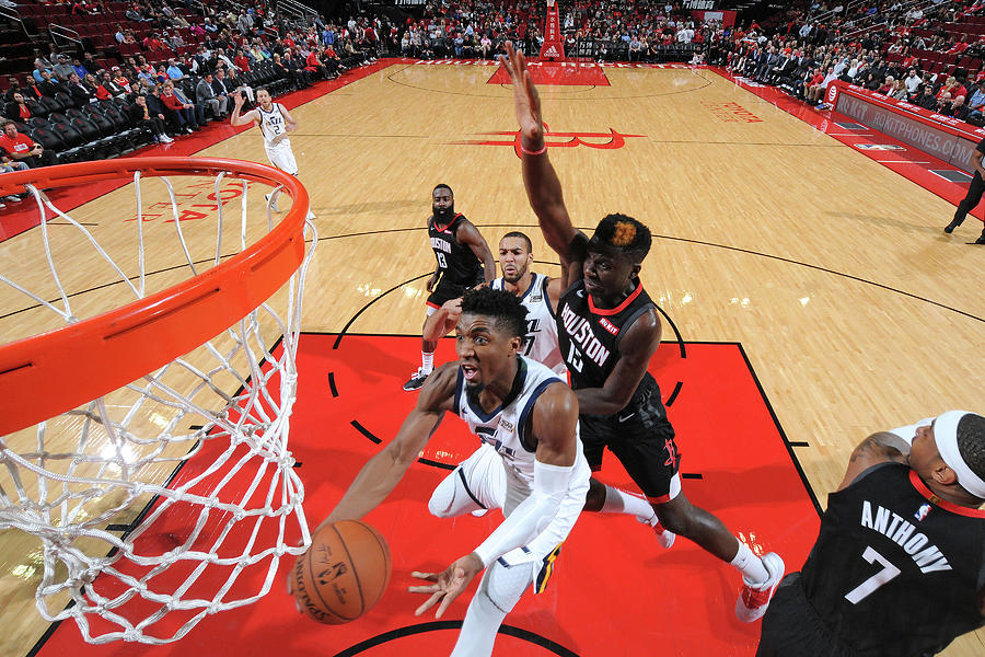 Clint Capela and Donovan Mitchell Photograph by Bill Baptist