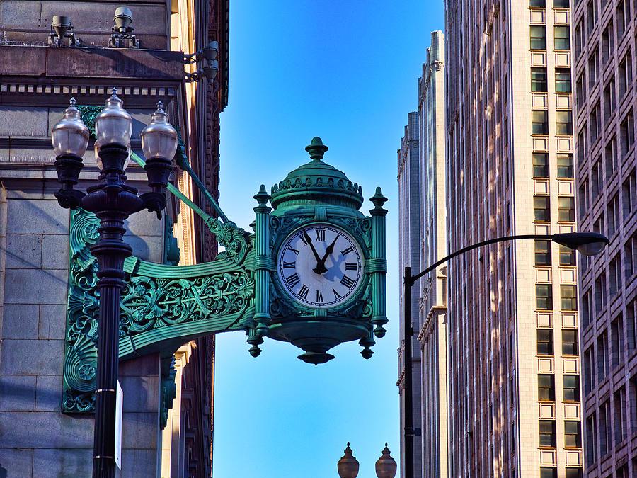 Clock - Downtown Chicago Photograph by Steven Ralser