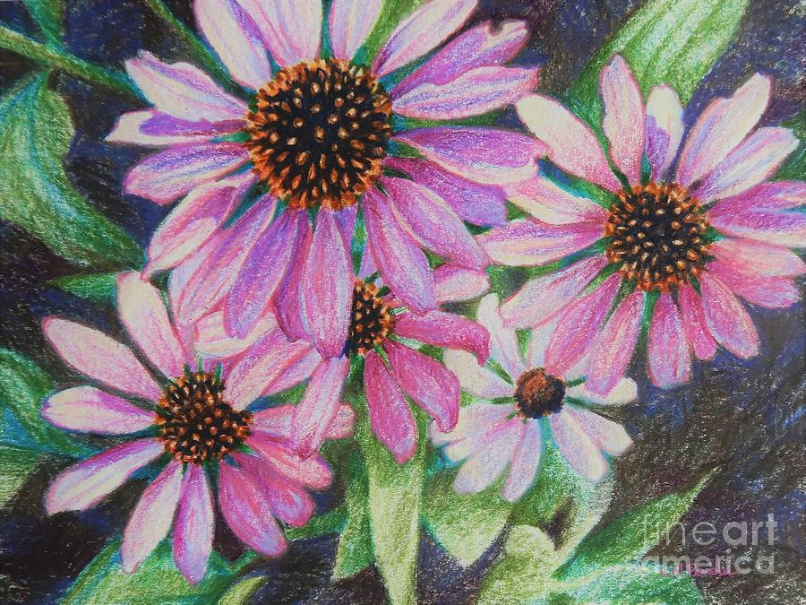 Flowers Drawing - Close to Pink by K M Pawelec