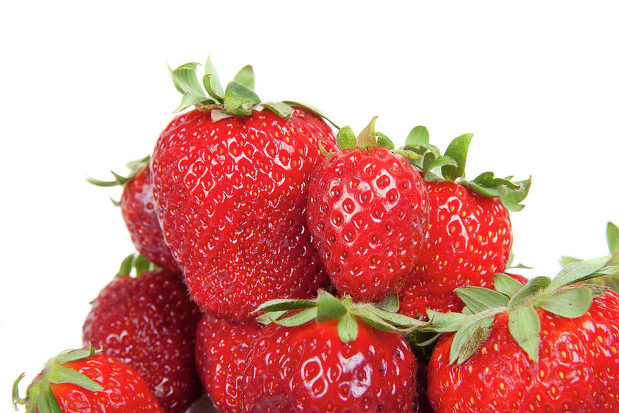 Close Up Of Fresh Strawberries, Isolated Photograph