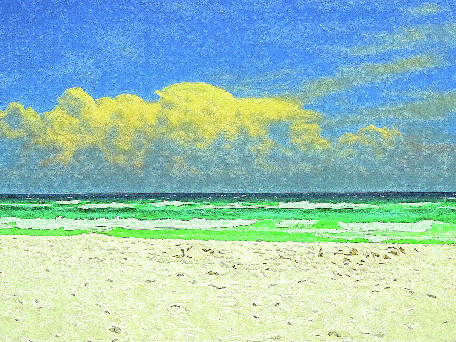 Clouds Rolling In On Sandestin Beach Impressionism by Island Hoppers Art