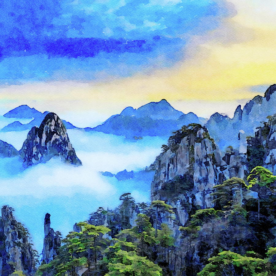 Clouds Yellow Mountain China Painting
