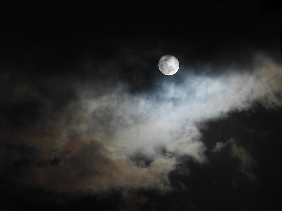 Cloudscape With Snow Moon Photograph