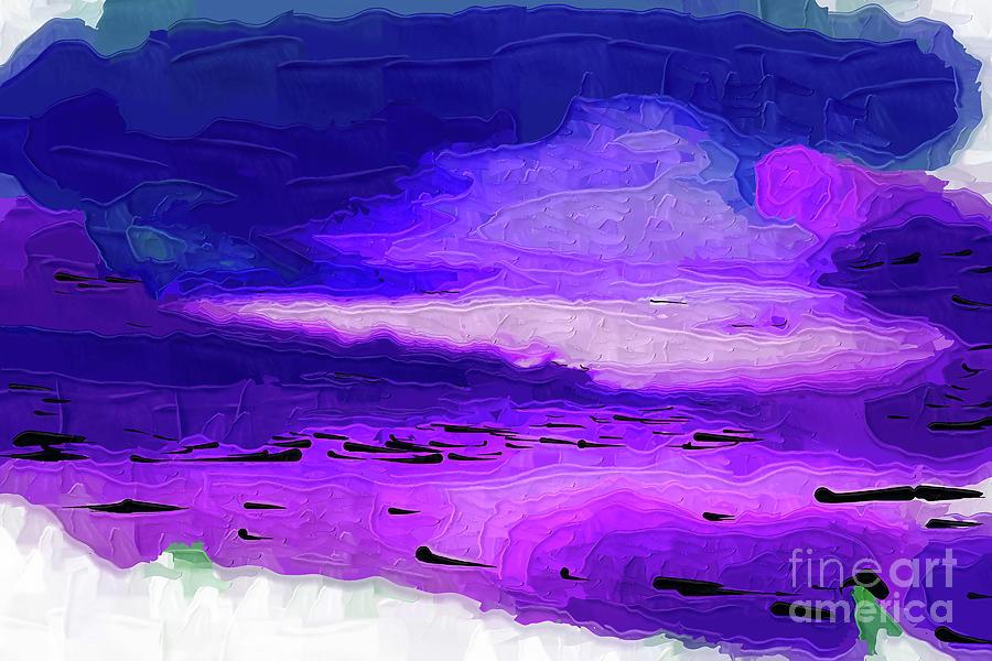 Abstract Digital Art - Cloudy Ocean Sunset by Kirt Tisdale
