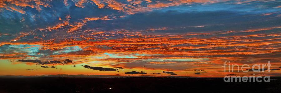 Cloudy Sunset Panorama By Kaye Menner Photograph