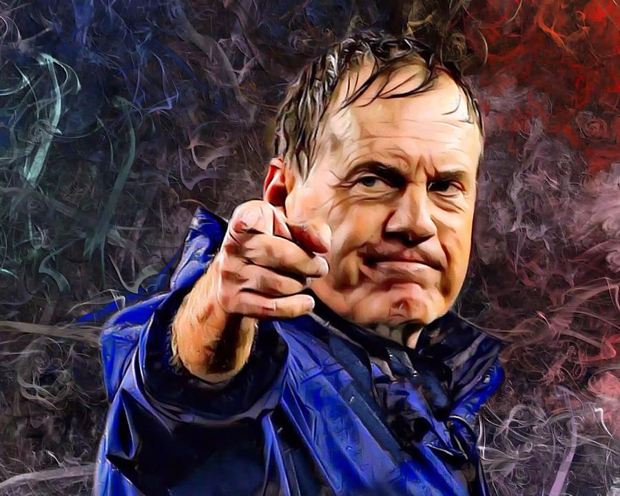 Coach Bill Stephen Belichick Portrait Digital Art