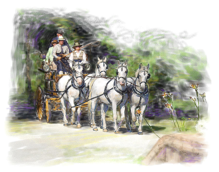 Horse Painting - Coaching In Acadia- Carriage Driving Four In Hand by Connie Moses