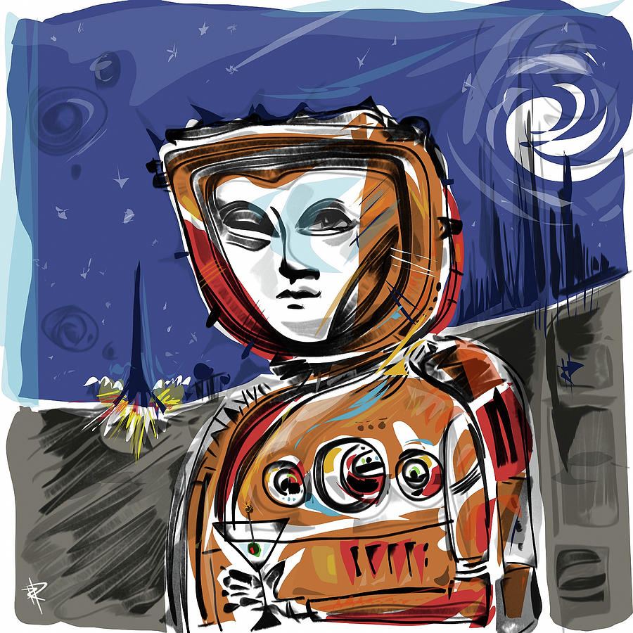 Astronaut Mixed Media - Cocktail time on the moon by Russell Pierce