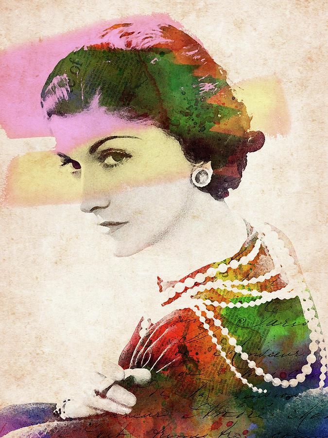 Coco Chanel Watercolor Portrait Digital Art