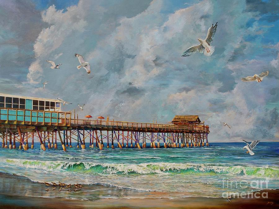Sandpipers Painting - Cocoa Beach Pier by AnnaJo Vahle