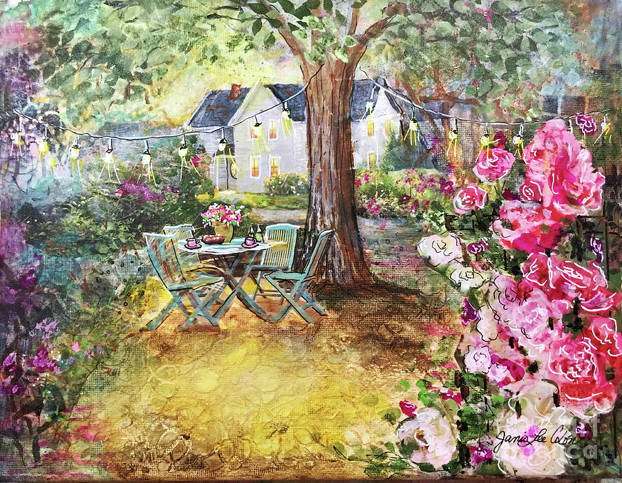 Collage Mixed Media - Coffee In The Garden by Janis Lee Colon