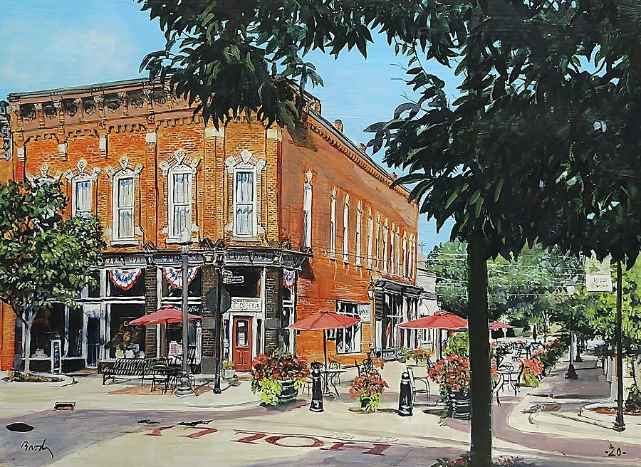 Holly Michigan Painting - Coffee On The Corner by William Brody