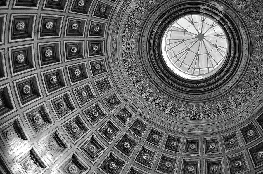 Coffered Dome and Oculus Vatican Museums Rome Italy Black and White by Shawn O'Brien