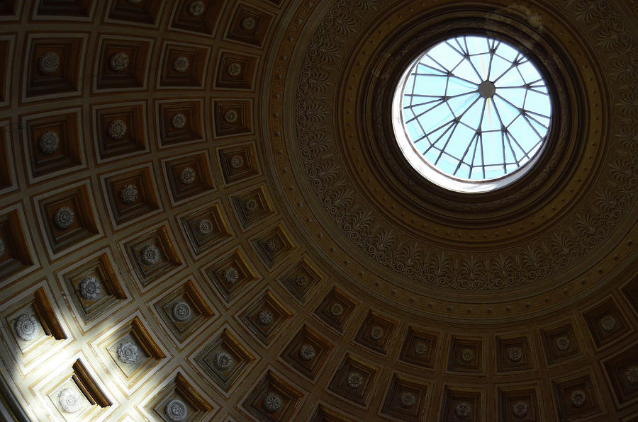 Coffered Dome and Oculus Vatican Museums Rome Italy by Shawn O'Brien