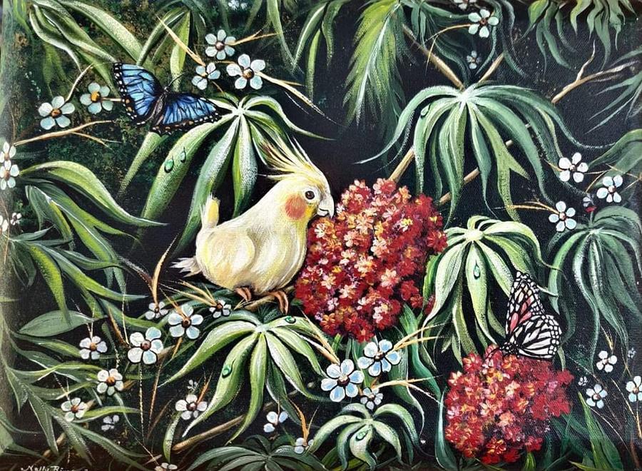 Cockatiel Painting - Cokito the cockatiel by Nelida Rivera