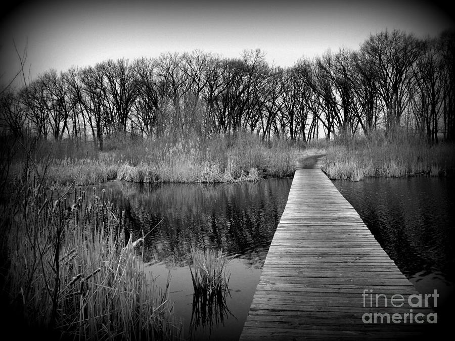 Black And White Photograph - Cold Day at the Water - Holga Effect by Frank J Casella