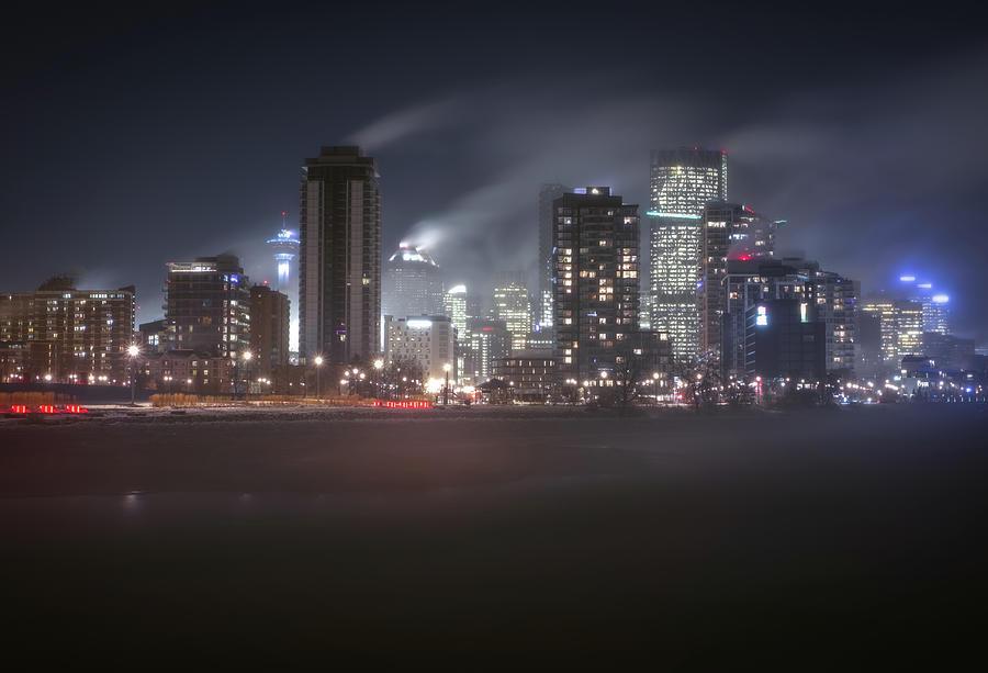 Fine Art America Photograph - Cold Winter Night Calgary, Alberta, Canada. by Yves Gagnon
