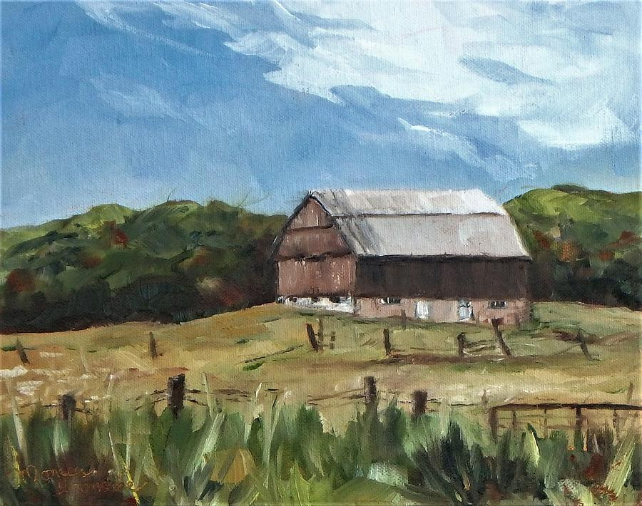 Barn Painting - Coldwater Barn - fall by Monica Ironside