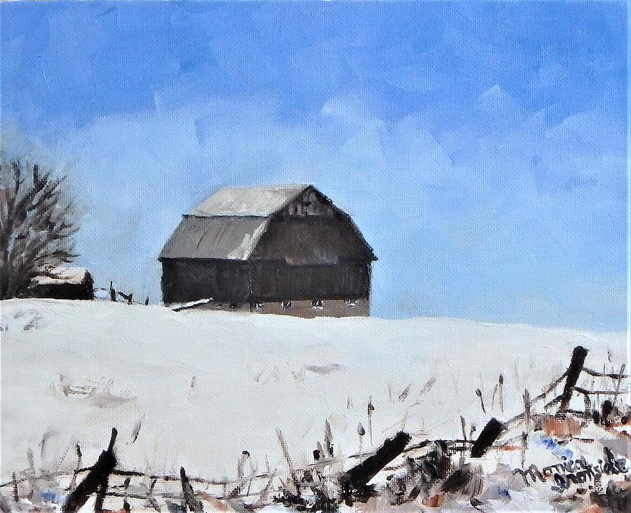 Impressionist Painting - Coldwater Barn - winter by Monica Ironside