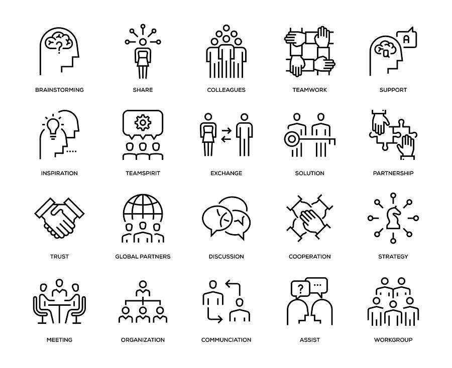 Collaboration Icon Set Drawing by Enis Aksoy