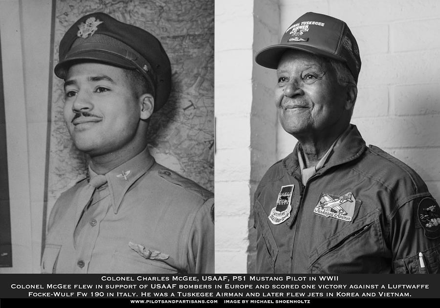 Tuskegee Airman Photograph - Colonel Charles McGee, USAAF Red Tailed P-51 Fighter Pilot, Tuskegee Airman, Old and New by Pilots And Partisans Then and Now