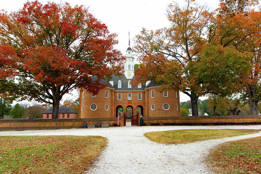 Colonial Williamsburg Capitol Building In Autumn Photograph