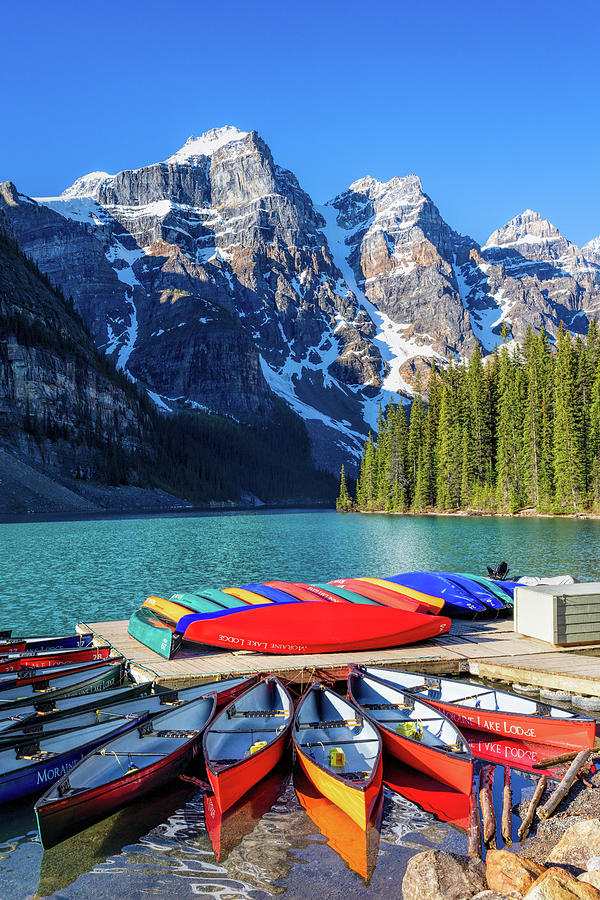 Color Canoes at Moraine Lake by Mike Centioli