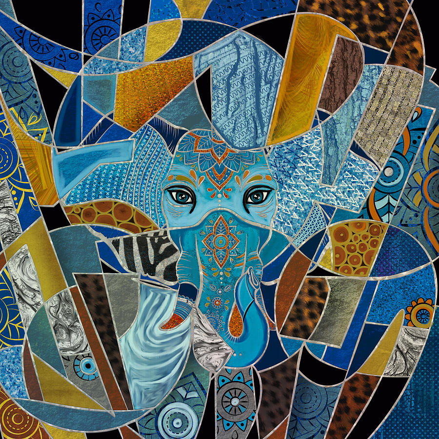 Colorful Abstract Elephant composition Digital Art by ...