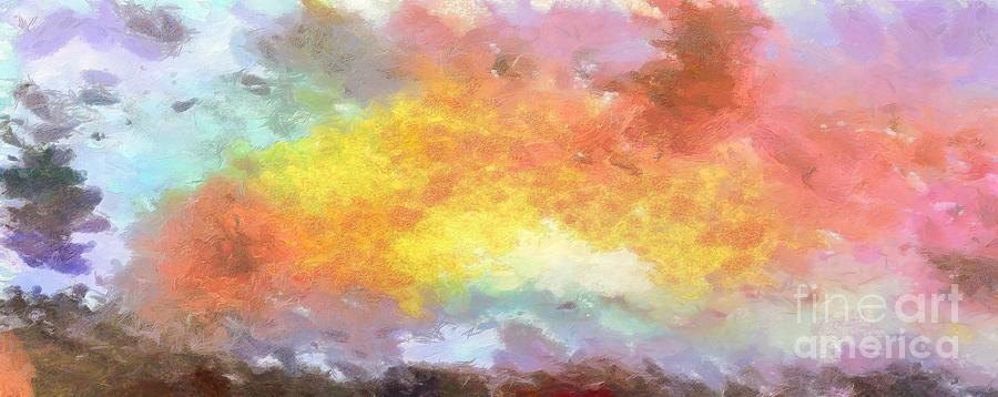 Large Abstract Painting - Colorful Abstract Sunset Sky by Stefano Senise