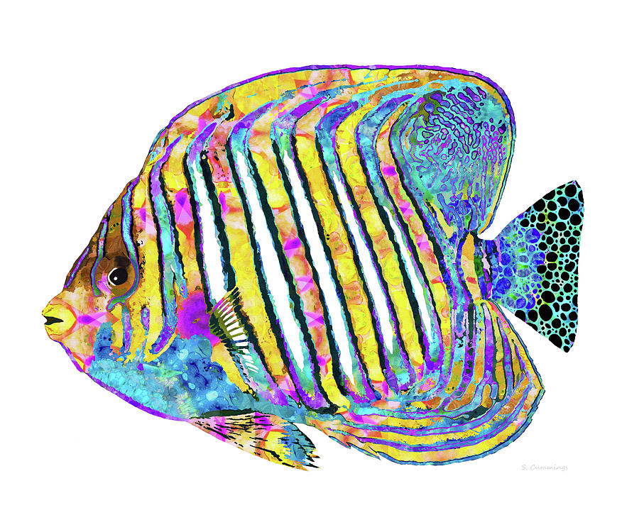 Angel Fish Painting - Colorful Angelfish Art - Tropical Queen - Sharon Cummings by Sharon Cummings