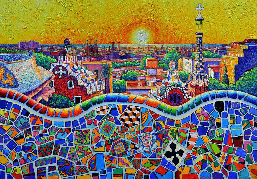 COLORFUL BARCELONA PANORAMA PARK GUELL MAGICAL SUNRISE impasto knife oil painting Ana Maria Edulescu by ANA MARIA EDULESCU