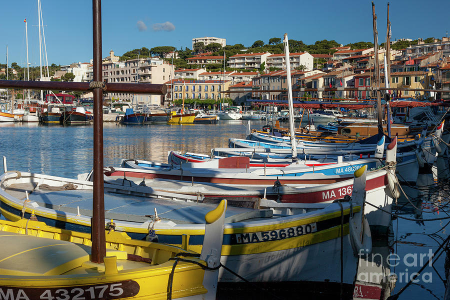 Colorful Boats In Harbor - Cassis France Photograph