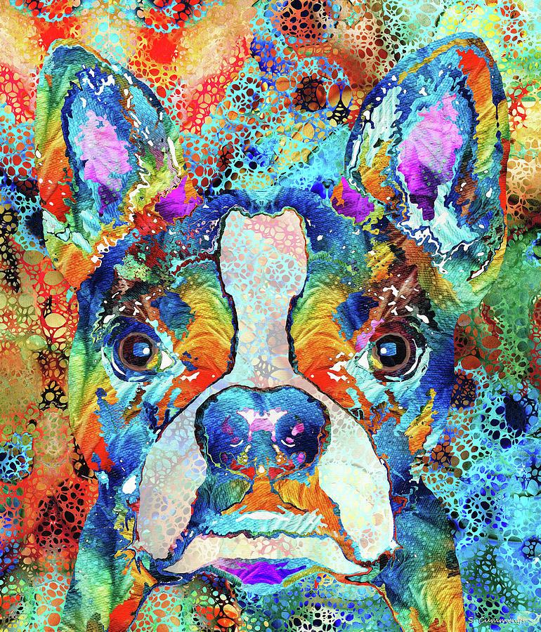Boston Terrier Painting - Colorful Boston Terrier Art - Hidden Gem - Sharon Cummings by Sharon Cummings