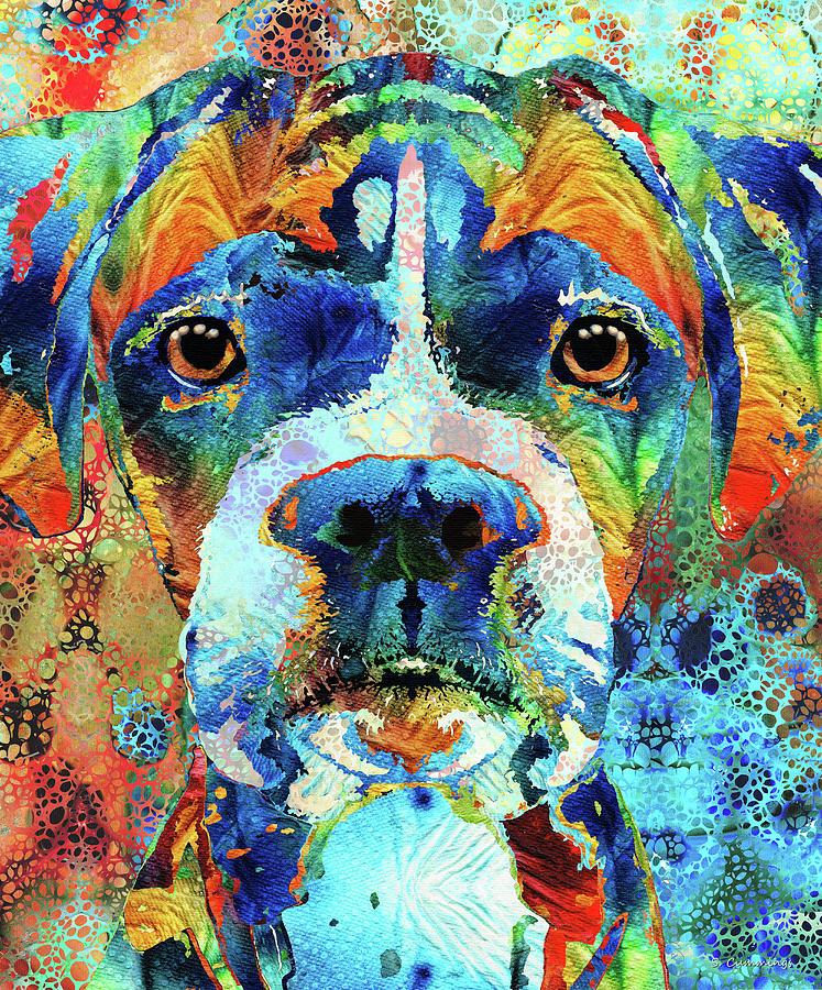 Boxer Painting - Colorful Boxer Dog Art - Sharon Cummings by Sharon Cummings