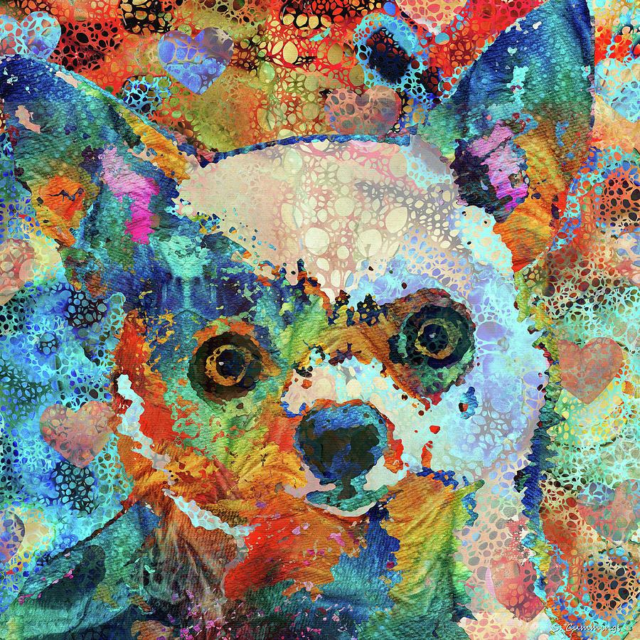 Chihuahua Painting - Colorful Chihuahua Dog Art - Sharon Cummings by Sharon Cummings