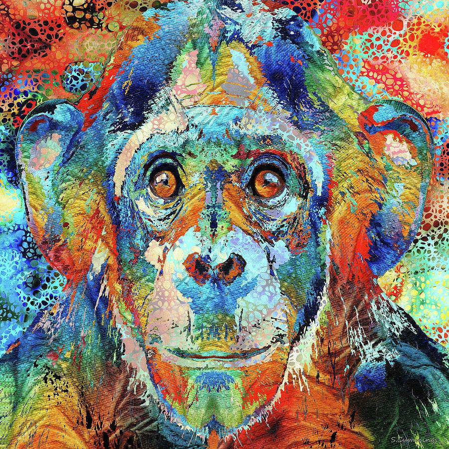 Monkey Painting - Colorful Chimp Art - Hidden Gem by Sharon Cummings