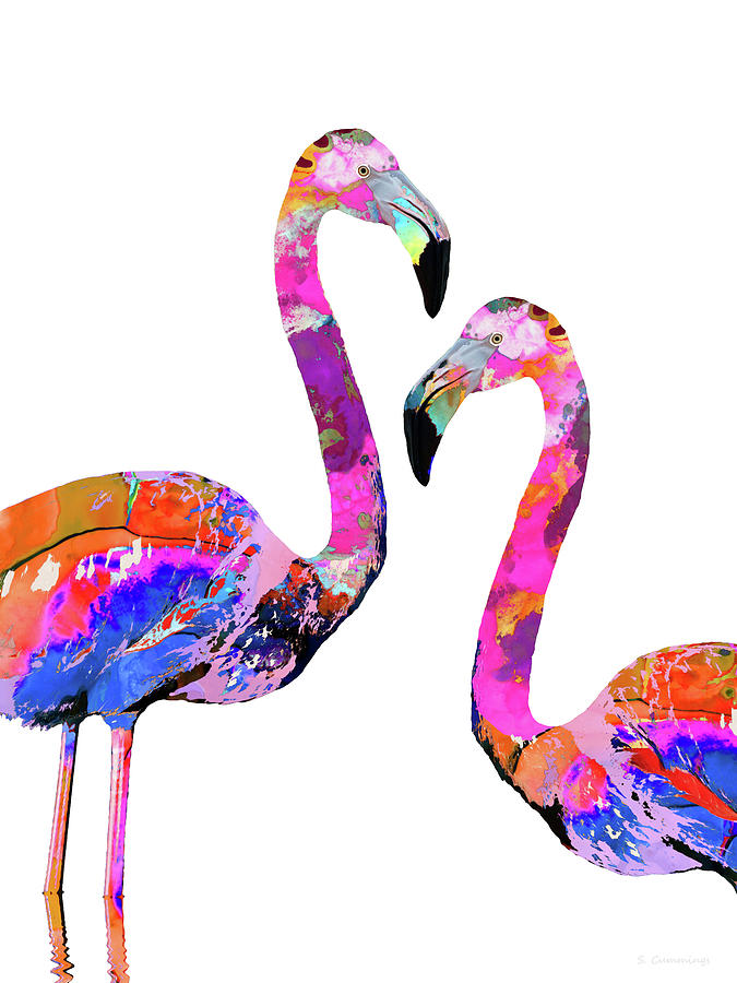 Flamingo Painting - Colorful Couple - Flamingo Art - Sharon Cummings by Sharon Cummings