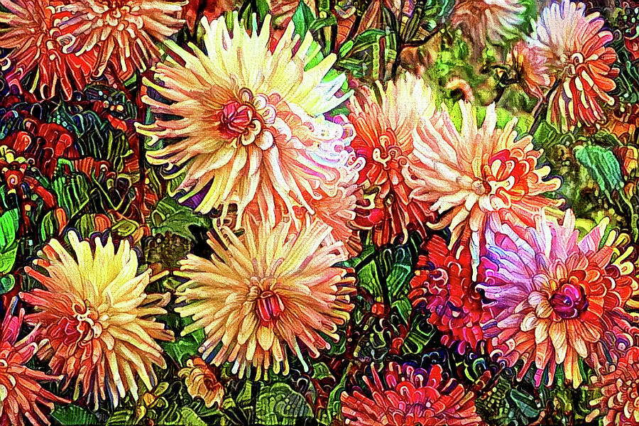 Colorful Dahlia Garden by Peggy Collins