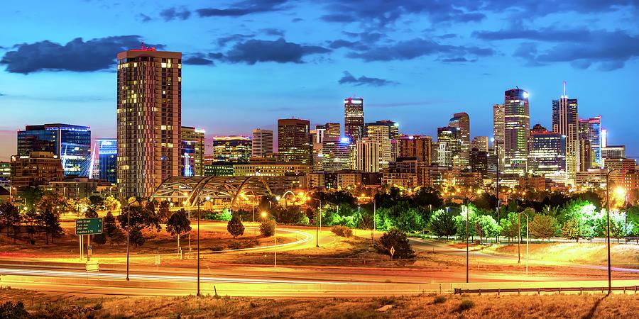 Colorful Denver Colorado Skyline Panorama At Dawn Photograph