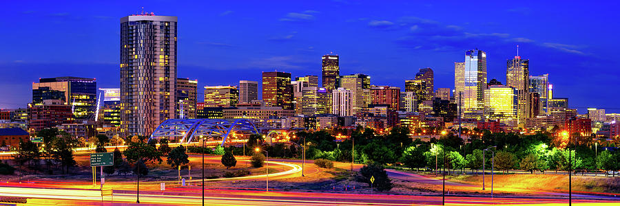 Colorful Denver Colorado Skyline Panorama Over The Speer Boulevard Platte River Bridge Photograph