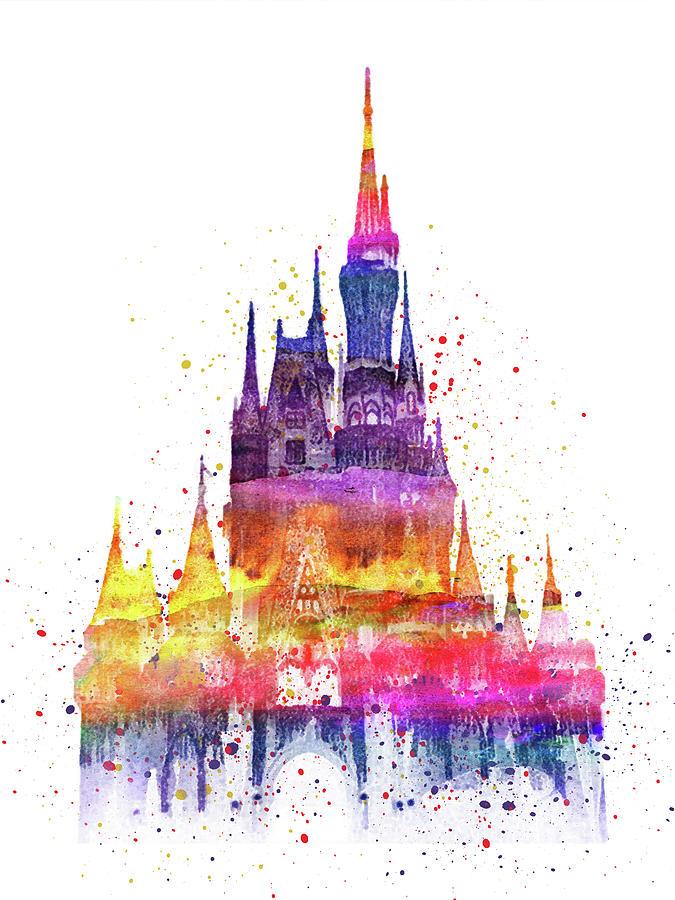 Colorful Disney Castle With Splashes Digital Art