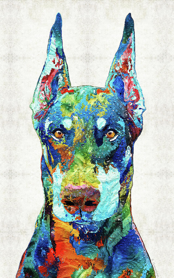 Doberman Pinscher Painting - Colorful Doberman Pinscher Dog Art - Sharon Cummings by Sharon Cummings