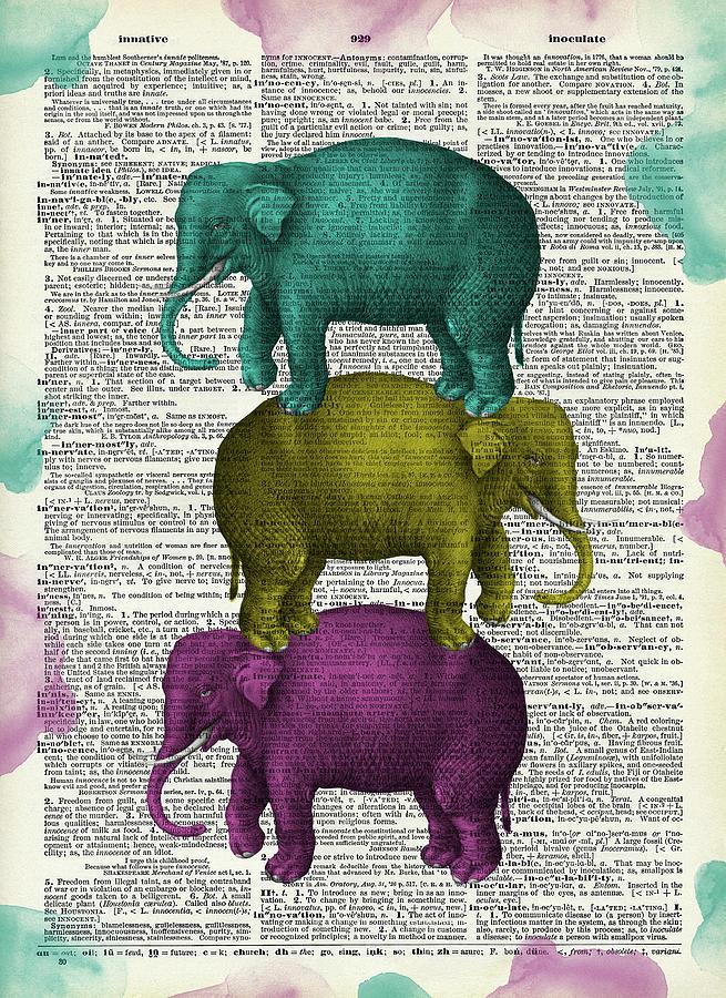 Colorful Elephants Digital Art