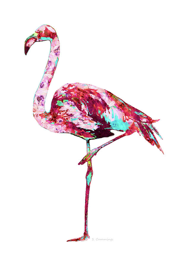 Flamingo Painting - Colorful Flamingo Beach Art - Standing Tall - Sharon Cummings by Sharon Cummings