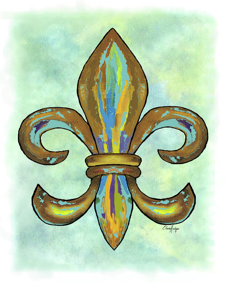 Colorful Fleur De Lis Vertical Painting