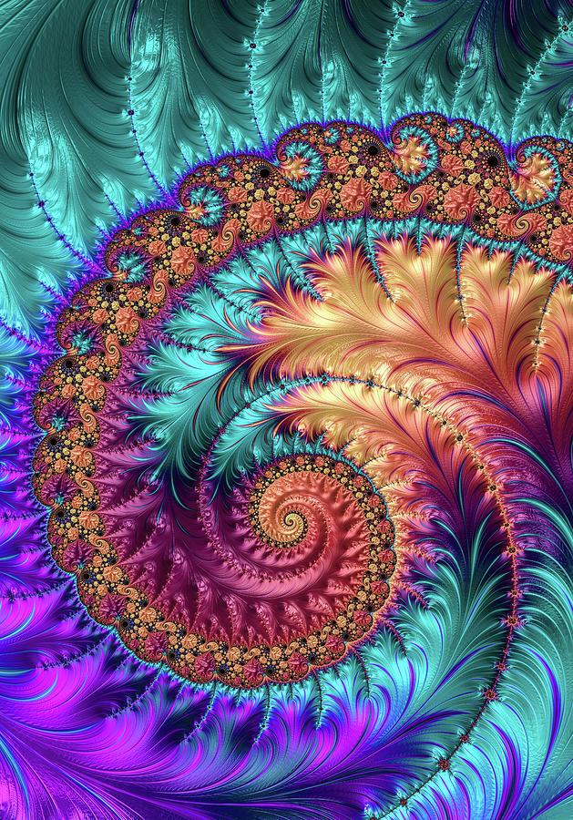 Colorful Fractal Spiral Orange Purple Turquoise Digital Art