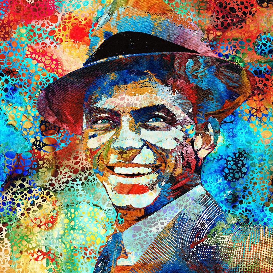 Frank Sinatra Painting - Colorful Frank Sinatra Tribute Portrait Sharon Cummings by Sharon Cummings