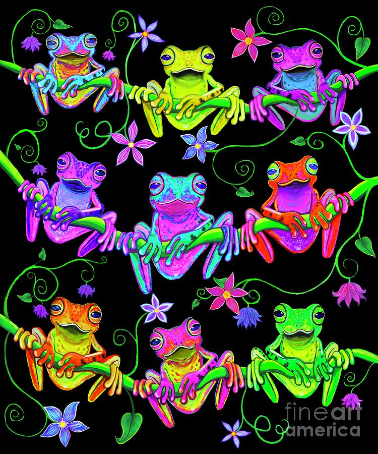 Colorful Frogs On Vines With Flowers Digital Art